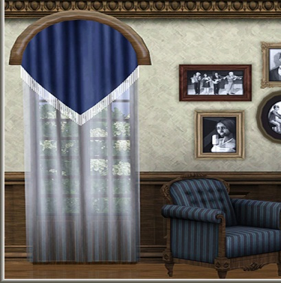 arch window treatments: blue and white curtains