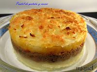 Pastel de patatas relleno de carne y costra de queso