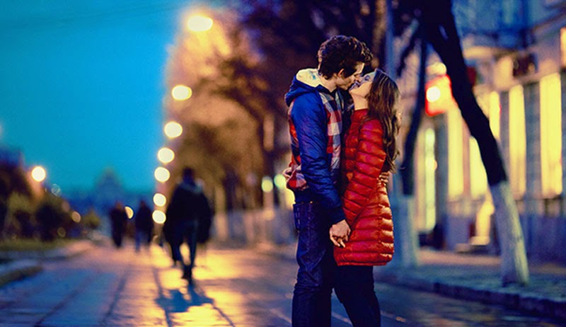 Cute Love Couple Kissing in Winter Photography