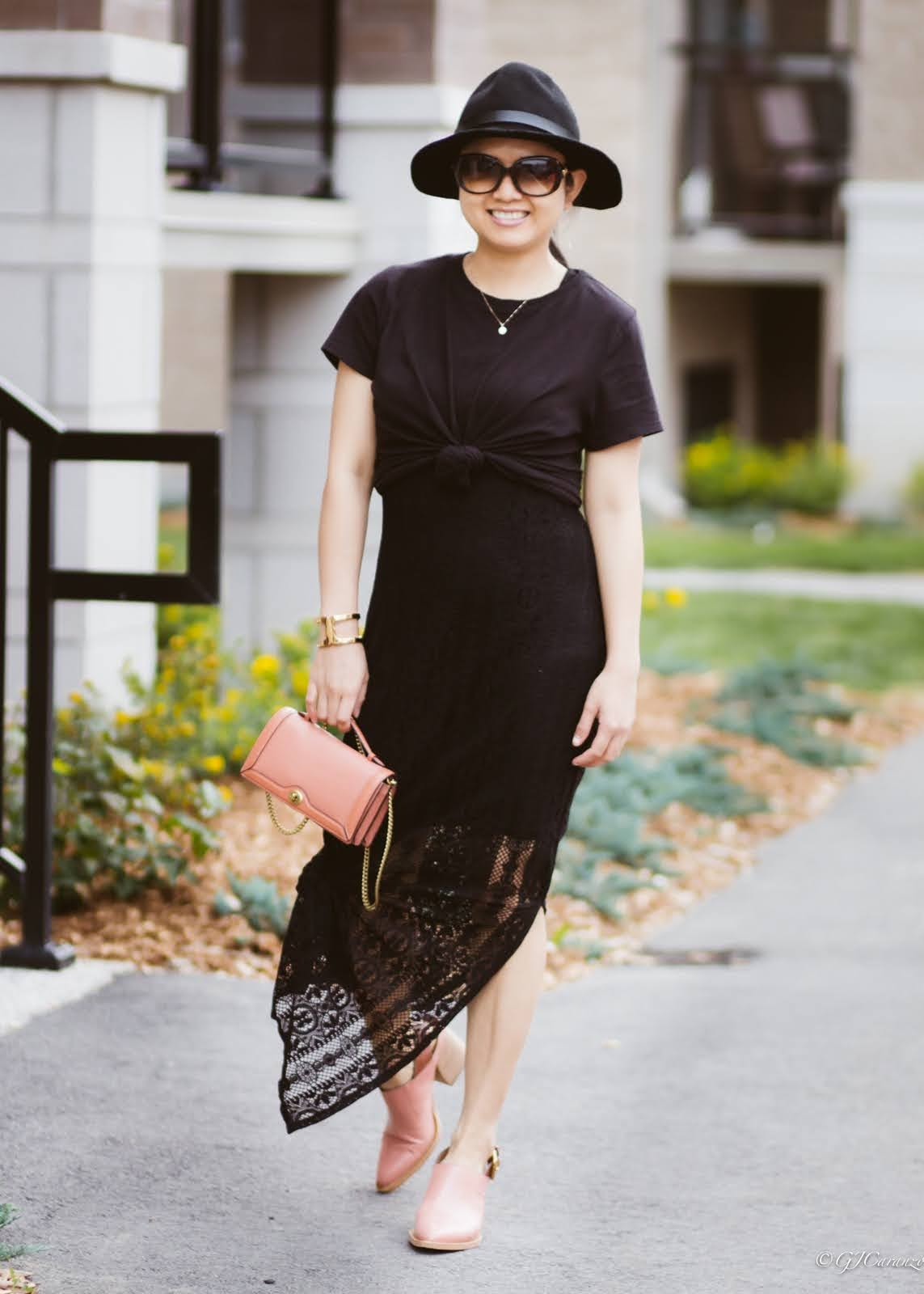 black lace maxi dress_coach block heel slingback shoes_coach chain clutch_hm black felt hat_black tee outfit idea   petite summer