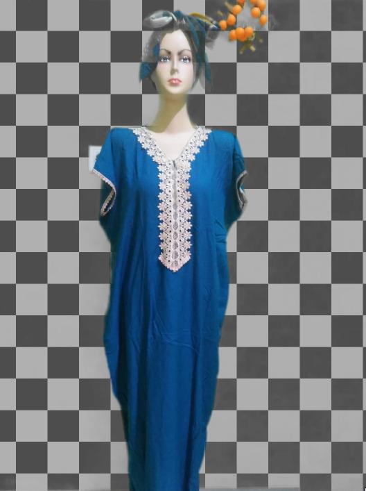 Daster Arabian Lengan Pendek Warna Biru Elektrik