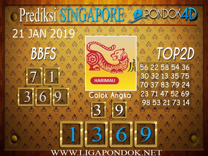 Prediksi Togel SINGAPORE PONDOK4D 21 JANUARI 2019