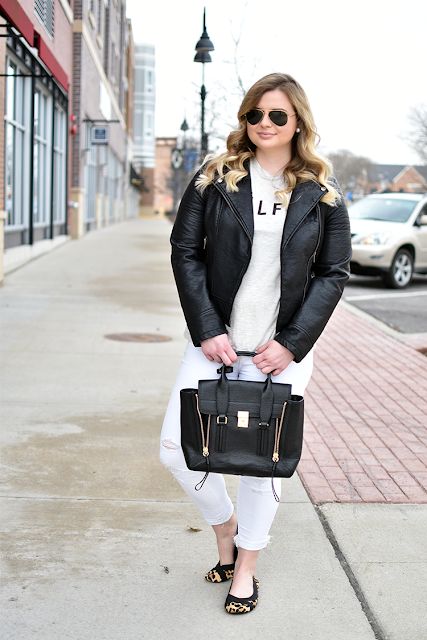 moto jacket sincerely jules celfie shirt target style casual weekend wear j brand white distressed denim phillip lim pashli satchel black rayban aviator sungleses balyage blonde hair leopard calf hair flats black and white style pearl double sided 2