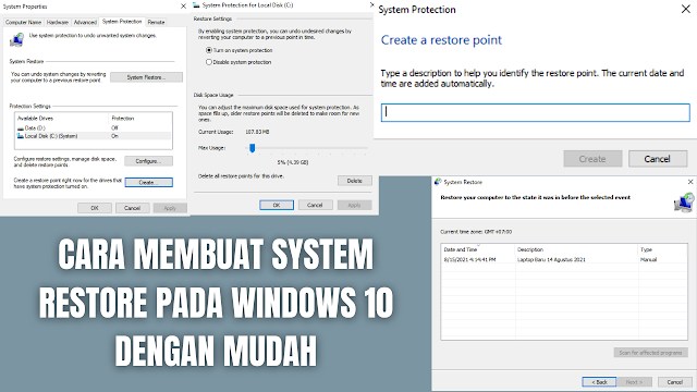 """Cara Membuat System Restore Pada Windows 10 Dengan Mudah System Restore adalah sebuah fitur yang telah disediakan oleh Windows untuk memulihkan atau mengembalikan Sistem Windows ke pengaturan sebelumnya. Dengan adanya fitur ini akan membantu para penggunanya untuk mengembalikan keadaan pengaturan pada windows ke keadaan sebelumnya. Namun hal ini bisa berlaku apabila telah menyimpan restore point secara manual.   Maka dari itu sangat disarankan apabila telah membeli laptop baru, komputer baru, mereset, dan menginstal ulang windows untuk membuat system restore point. Agar mempermudah proses perbaikan atau mengembalikan peforma windows ke dalam keadaan seperti baru.  Cara Membuat System Restore Apabila Local Disk (C:)(System) Dalam Keadaan Protection On Untuk membuat system restore point apabila local disk (c:)(system) dalam keadaan protection on, di antaranya adalah : Pada taskbar pencarian windows silahkan tuliskan """"Create A Restore Point"""" Pilih """"Local Disk (C:)(System)"""" Pilih """"Create"""" Pada tab baru, silahkan untuk """"Mengisi Nama Dari System Restore"""" yang ingin disimpan, sebagai contoh """"16 Agustus 2021"""" Tunggu proses sampai selesai Untuk mengecek system restore yang sudah tersimpan silahkan pilih """"Kotak Bertuliskan System Restore"""" lalu pilih """"Next"""" dan akan muncul system restore yang telah tersimpan.    Cara Membuat System Restore Apabila Local Disk (C:)(System) Dalam Keadaan Protection Off Untuk membuat system restore point apabila local disk (c:)(system) dalam keadaan protection on, di antaranya adalah :  Pada taskbar pencarian windows silahkan tuliskan """"Create A Restore Point"""" Pilih """"Local Disk (C:)(System)"""" Pilih """"Configure"""" Pilih """"Turn On System Protection"""", lalu pilih """"Apply"""", dan pilih """"Ok"""" Pilih lagi """"Local Disk (C:)(System)"""" Pilih """"Create"""" Pada tab baru, silahkan untuk """"Mengisi Nama Dari System Restore"""" yang ingin disimpan, sebagai contoh """"16 Agustus 2021"""" Tunggu proses sampai selesai Untuk mengecek system restore yang sudah tersimpan silahkan pilih """"Kotak Be"""