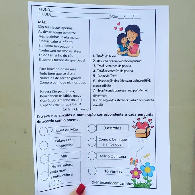 Atividade de interpretação do poema Mãe de Mário Quintana