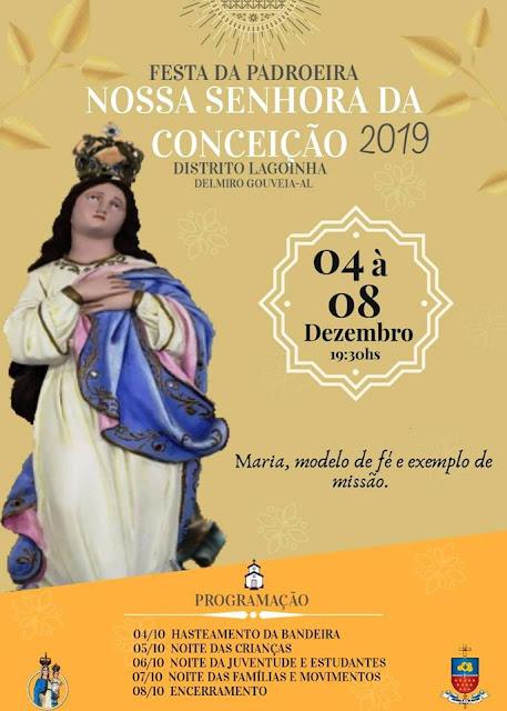 Confira a programação da festa da Padroeira do Distrito de Lagoinha em Delmiro Gouveia