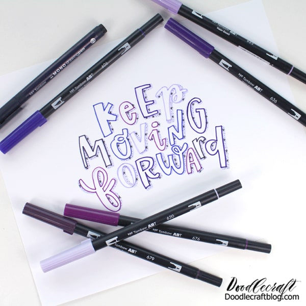 Tombow has just launched another Creativity Kit! It comes with all the supplies and instructions to make a project. The focus this time is on lettering. Learn a fun style of lettering with galaxy shadows.