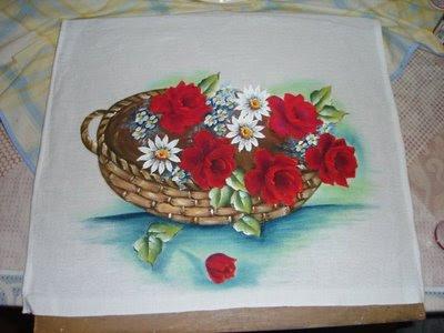pintura em tecido passo a passo cesta de rosas