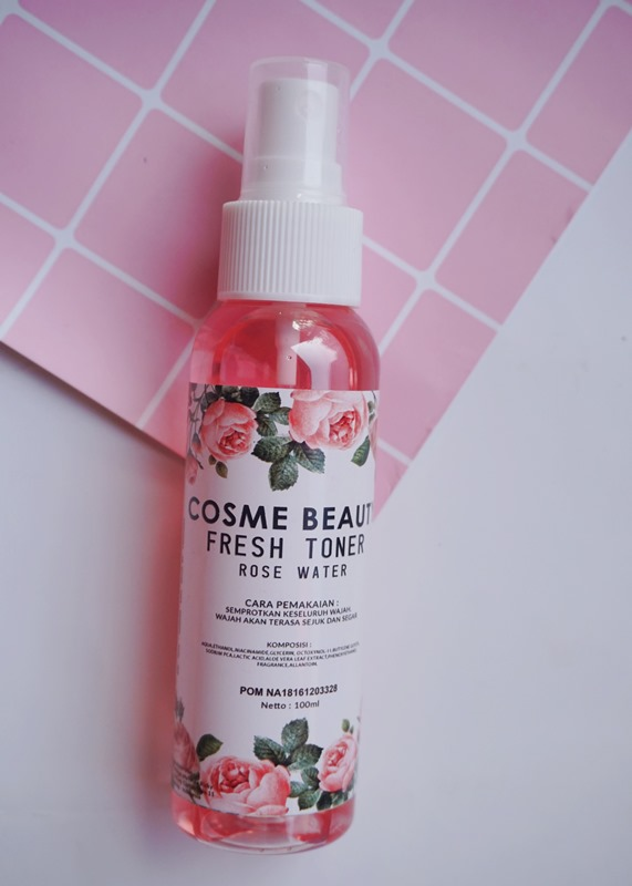 cosme beauty fresh toner rose water, rose water, beauty flatlay, minimalis photo