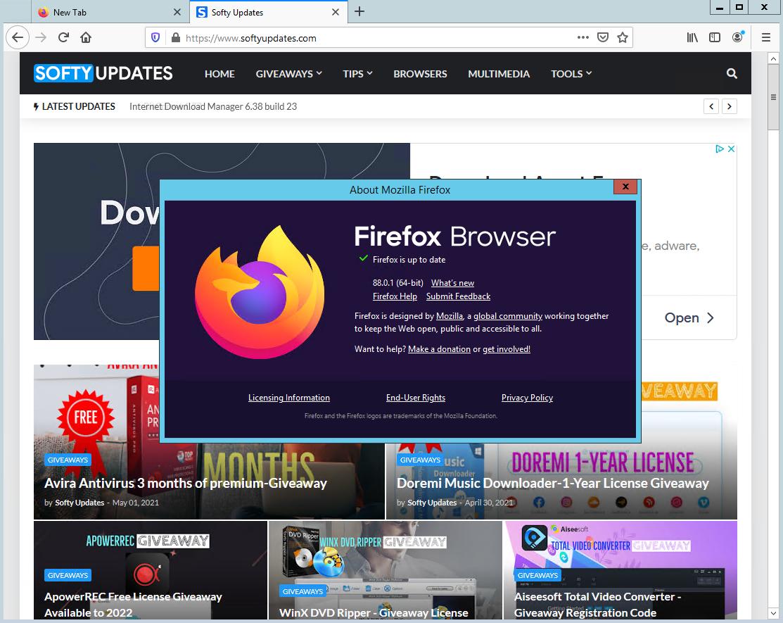 Mozilla Firefox Browser 88.0.1