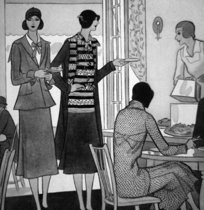 Illustration of 1930's women wearing Coco Chanel designs for Vogue UK