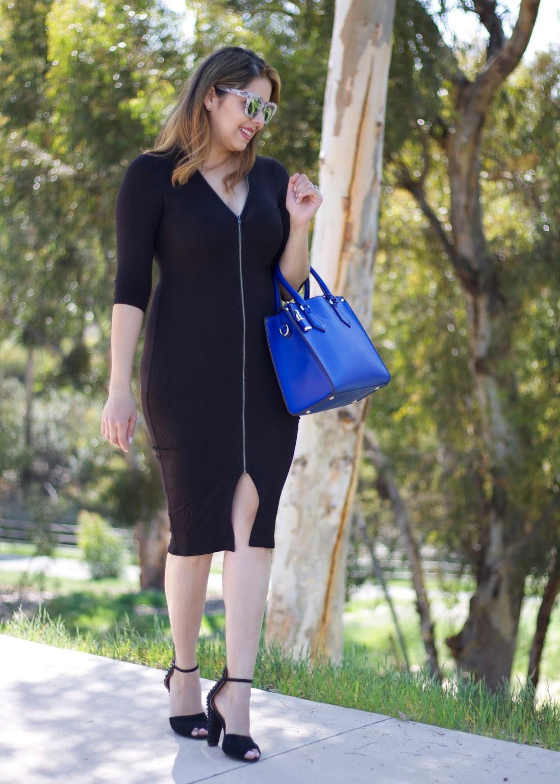zipper dress, how to wear a black midi dress, black ribbed midi dress, little black dress 2016