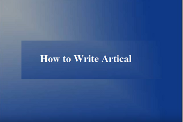 How to write articles?