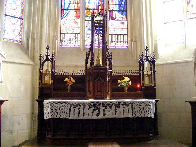 Altar in the church at Sainte Catherine de Fierbois, Indre et Loire, France. Photo by Loire Valley Time Travel.