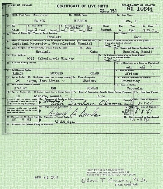 we saw that obama long form birth certificate raises