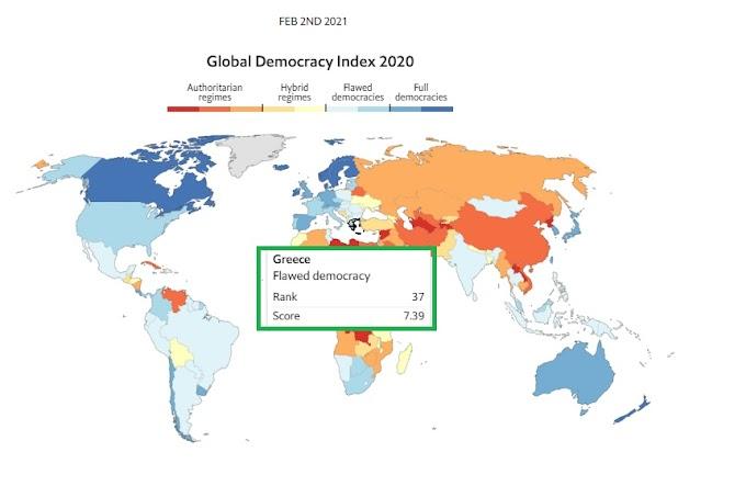 Economist: Η Ελλάδα στις «ελαττωματικές δημοκρατίες» - 37η( πιο κάτω και από την... Μποτσουάνα (33η) ) σε δικαιώματα και ελευθερίες