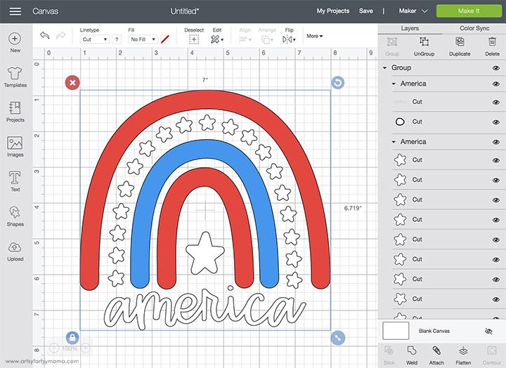 America 4th of July Cut File in Cricut Design Space