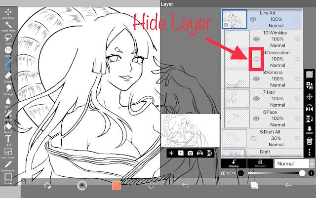 How to hide layers in ibisPaint X
