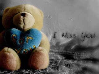 sad teddy bear pic with i miss you text on pillow