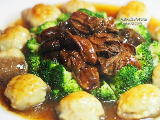 Stuffed Sea Cucumber With Sha Jiang Oyster, Garden Greens & Sea Moss Sauce
