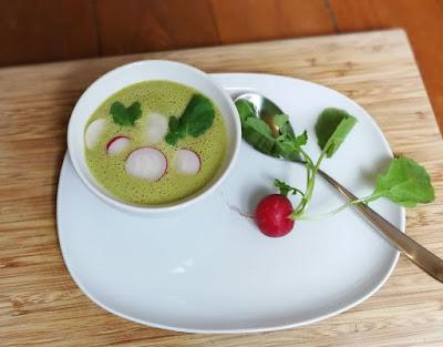 Frühlingshafte Suppe mit Wildkräutern und Radieschen