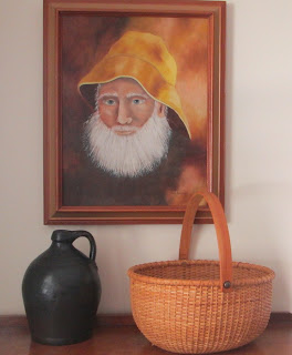 Old Man of The Sea With Nantucket Basket and Antique Pitcher