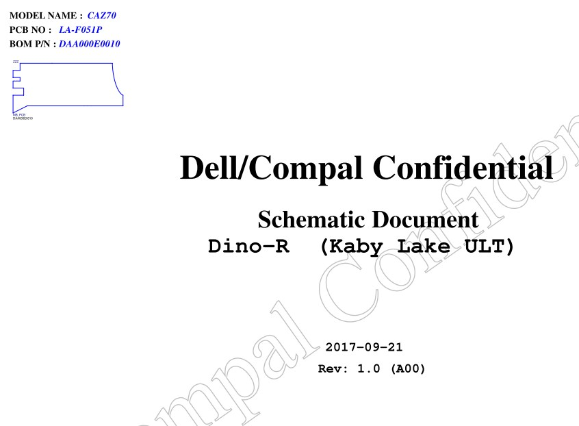 LA-F051P Kaby Lake ULT A00 Schematic Dell XPS 13 9360 CAZ70