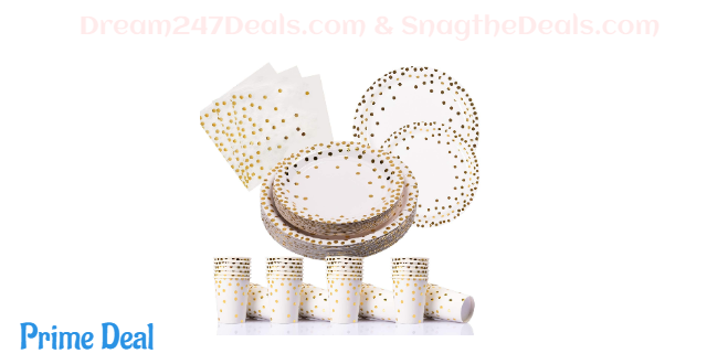 PartyFun Gold Dot Disposable Plates Set 35% OFF