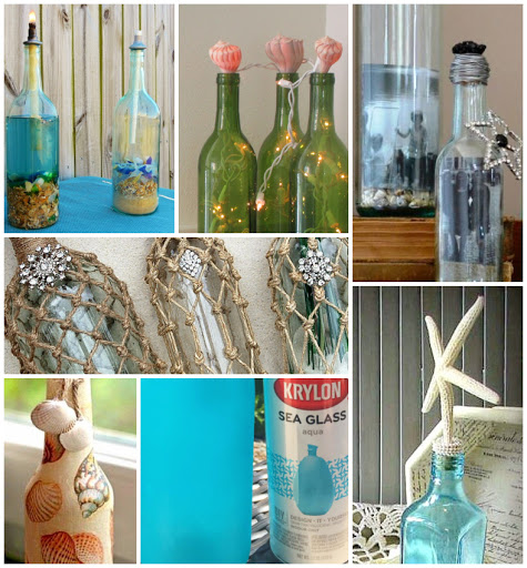 18 Coastal Beach Decorating Ideas With Bottles Recycled Antique Vintage Decorative Bottles Coastal Decor Ideas Interior Design Diy Shopping