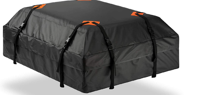 Voroly Rooftop Cargo Bag - (15 Cubic Feet) Coated Zippers & Heavy Duty Roof Bag - 100% Waterproof Excellent Quality Car Top Carrier Bag Fits All Cars With/Without Rack - Roof Top Car Bag