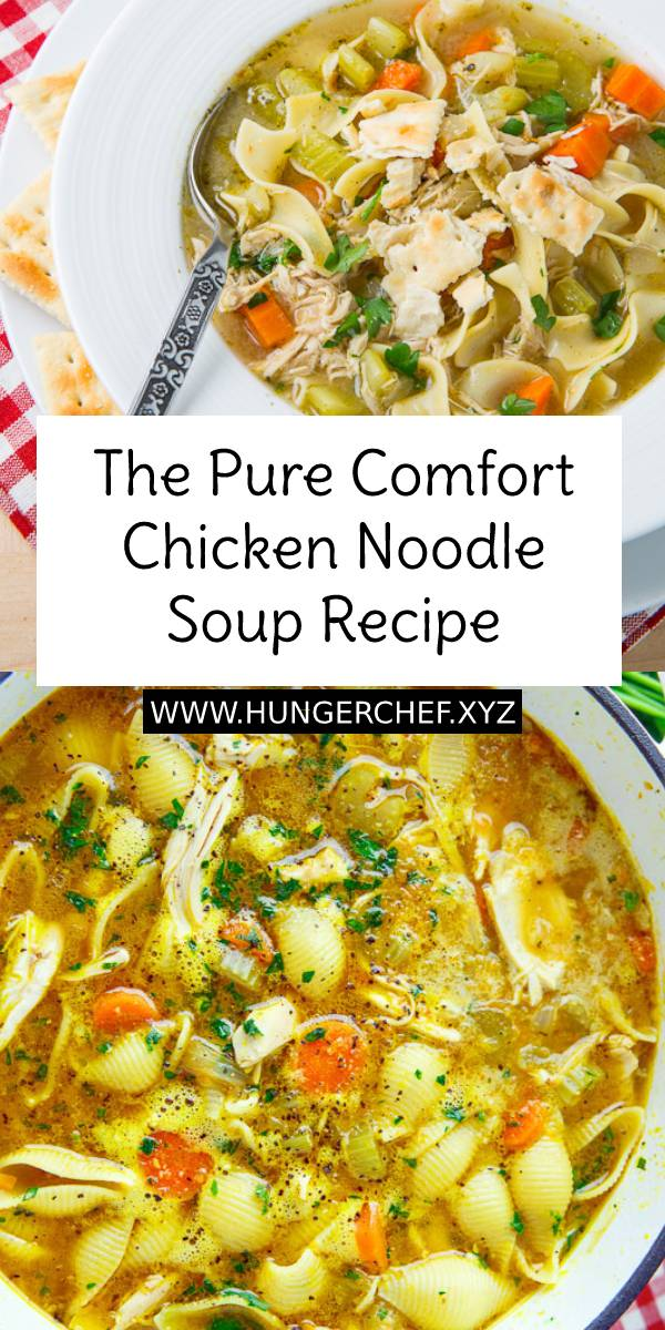 The Pure Comfort Chicken Noodle Soup Recipe - A quick and easy home made chicken noodle soup that is pure comfort food and lick your bowl clean good! #chickenrecipe #chickensoup #chickennoodle #noodlesoup #noodle #souprecipe #soup #easychickenrecipe #easysouprecipe #easydinnerrecipe #comfortfood #dinner #dinnerrecipe #bestsoup #bestsouprecipe #maindish #dish #homemaderecipe #bestrecipe #recipeoftheday