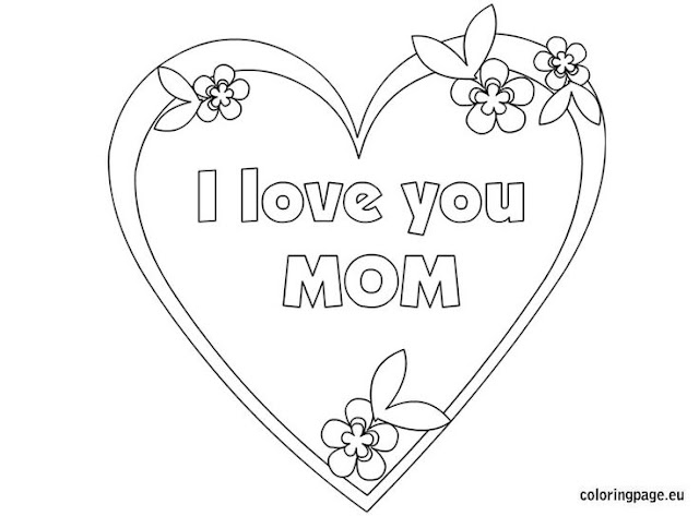 Free Printable I Love You mom coloring pages for kids
