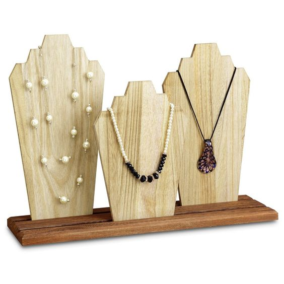 Wooden Necklace Holder Jewelry Display Bust Stand