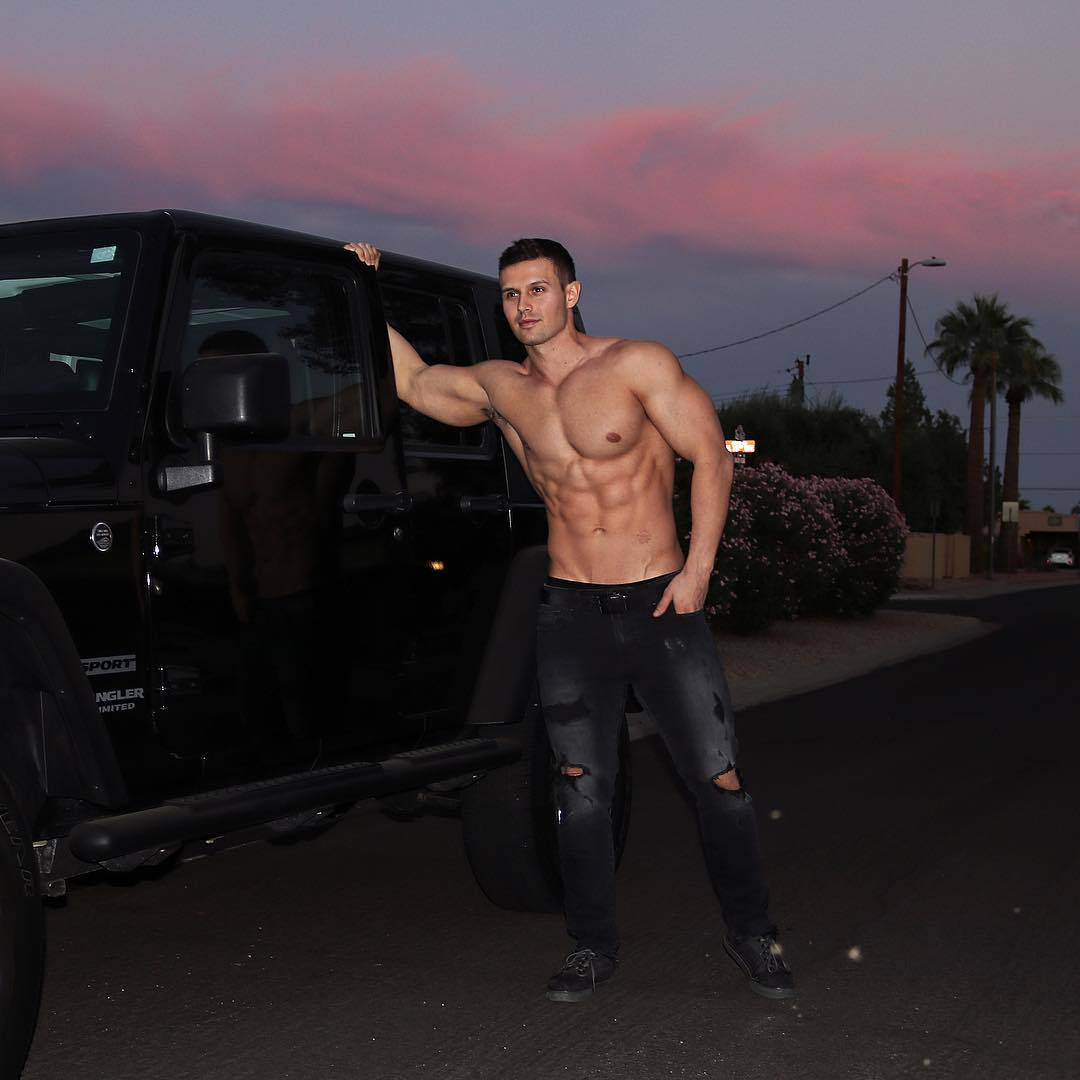 cocky-muscular-shirtless-bro-luxurious-black-car-hunk