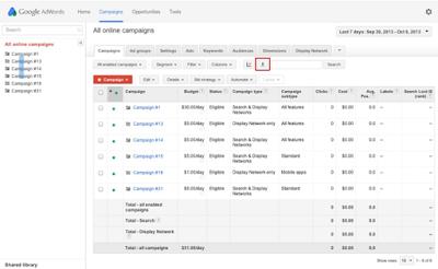 Nút tải xuống của báo cáo Adwords trong tab Chiến dịch