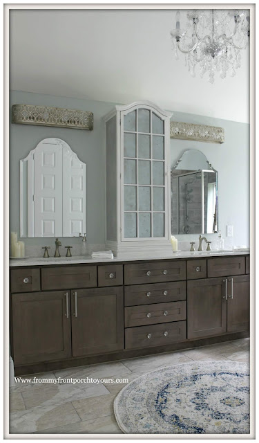Master Bathroom Makeover-Reveal-Sherwin Williams Sea Salt-Light Bars-Arched Mirrors-Arched Cabinet-DIY-Crystal Knobs-Bathroom Chandelier-From My Front Porch To Yours