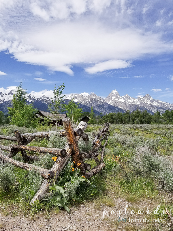 split rail fence and old log chapel in Grand Tetons National Park.