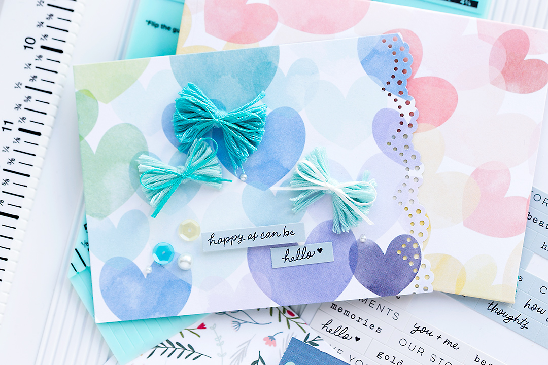Cute Spring Card with ribbon bows and nice border