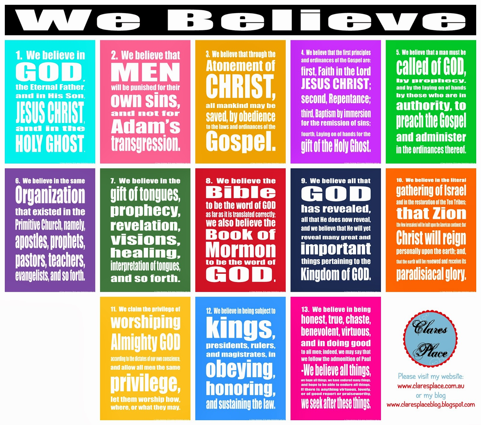image regarding 13 Articles of Faith Printable identified as Clares Destination: The 13 Material of Religion Printables.
