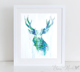 Bright Reindeer Forest Wall Art