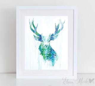 Bright Reindeer Forest Wall Art