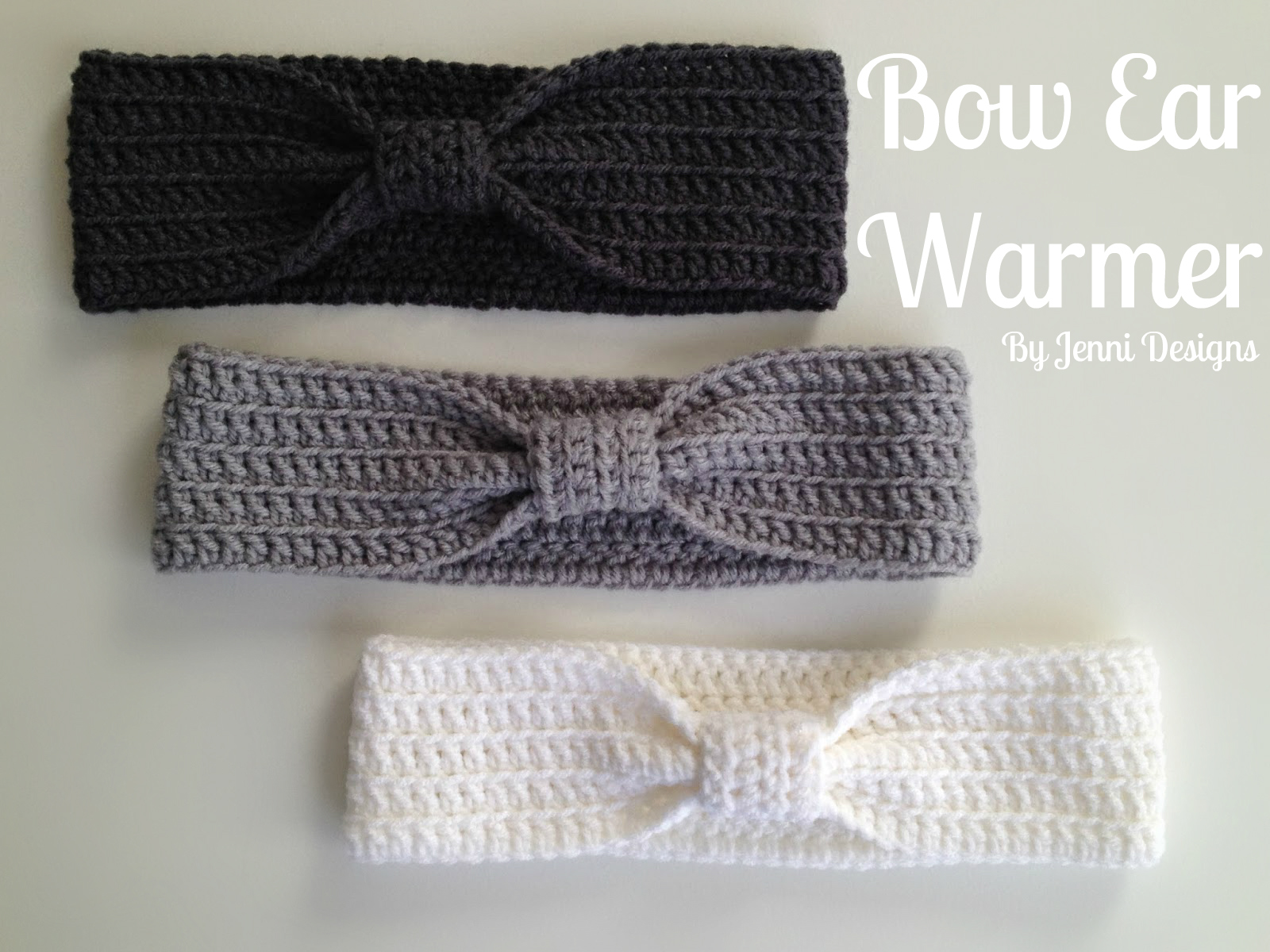 By jenni designs free crochet pattern bow ear warmer free crochet pattern bow ear warmer bankloansurffo Choice Image
