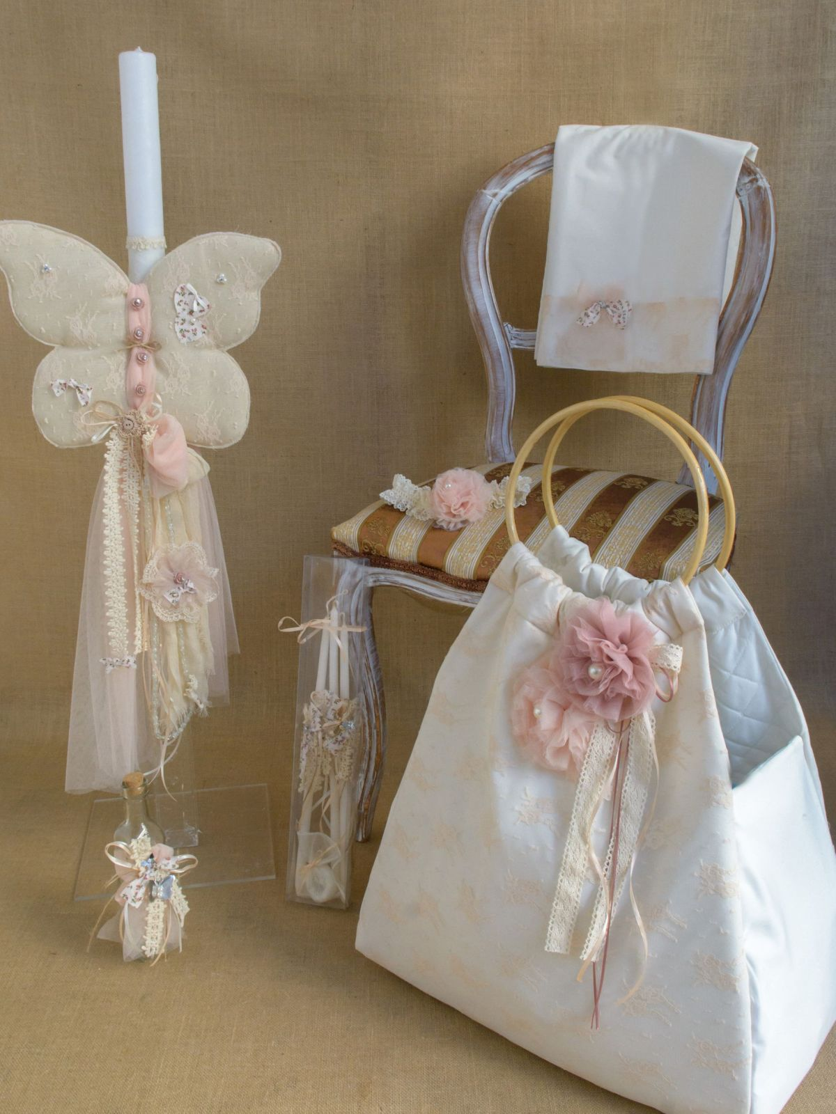Butterfly themed lampada Greek Baptism set for girl CSG7