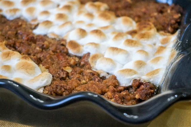 Sweet Potato Casserole With Pecan Topping And Marshmallows