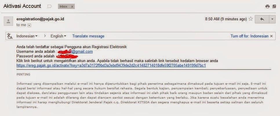 pajak efiling aktivasi email
