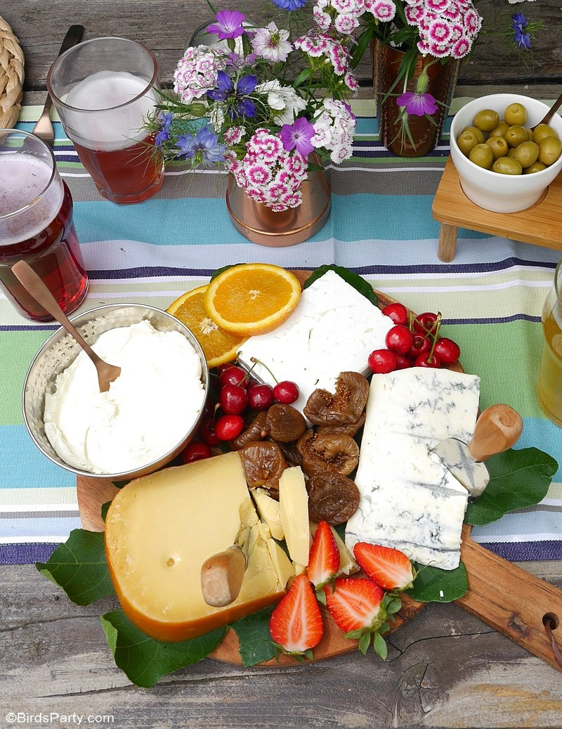 A Summer Cheese and Beer Tasting Party - a tasty, easy and quick party to pull off for a summer get-together with friends or to celebrate Father's Day! by BirdsParty.com @birdsparty #cheeseandbeerparty #beerparty #summerparty #fathersday #menpartyideas