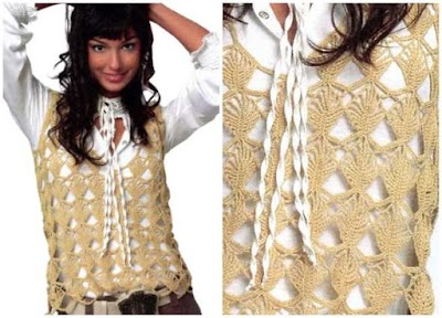 Top crochet con rombos calados patrón gráfico