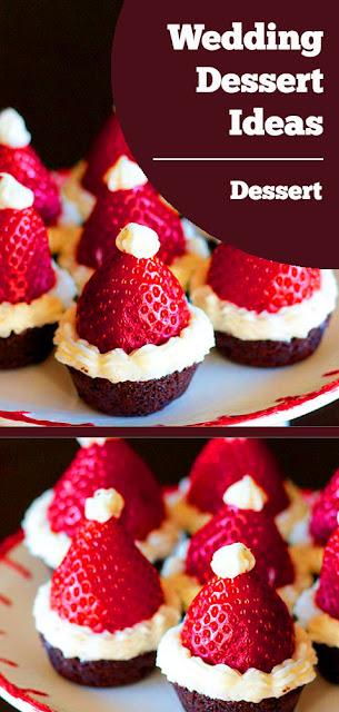 Wedding Dessert Ideas: Santa Hat Brownie Bites Recipe #wedding #dessert #ideas #brownies #bites