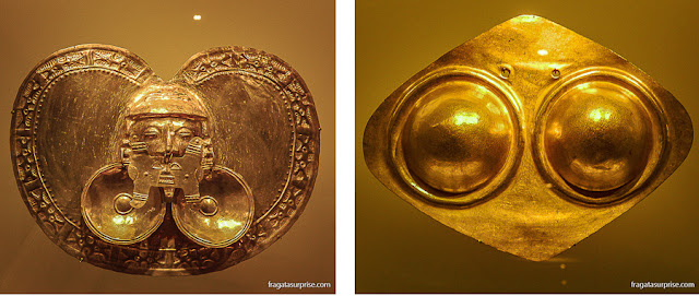 Peças das culturas pré-colombianas Calima e Zenú no Museu do Ouro de Bogotá