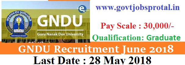 GNDU Recruitment 2018